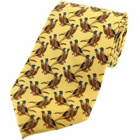 Soprano Yellow Pair of Standing Pheasants Silk Tie