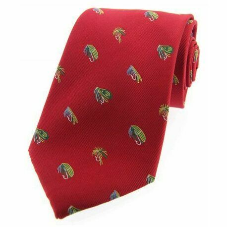 Soprano Red Luxury Silk Tie With Fly Fishing Hook Design