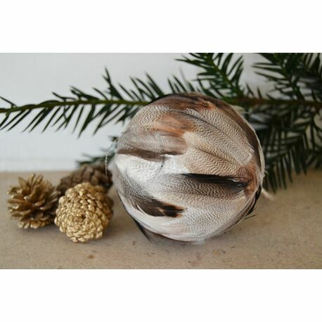 Grey and Brown Feather Bauble