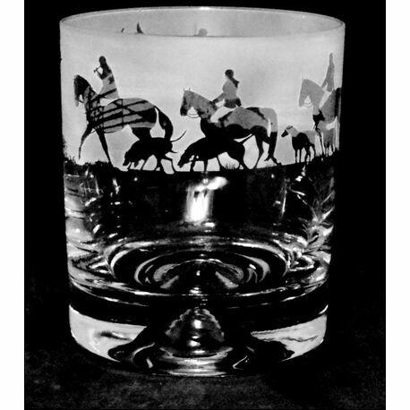 Animo Glass Hunting Scene Whisky Tumbler