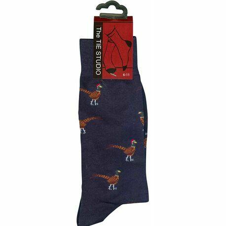 Pheasants on Navy Socks