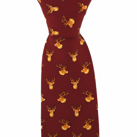 Soprano Wine Red Silk Country Tie with Stag Head Design