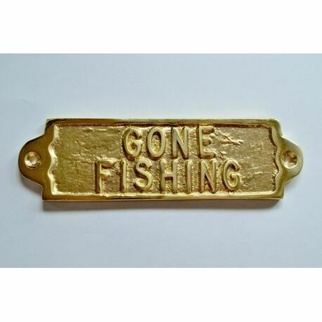 'Gone Fishing' Brass Sign