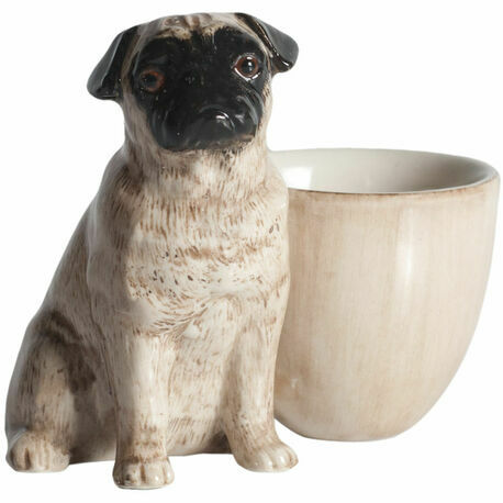 Quail Ceramics Fawn Pug with Egg Cup