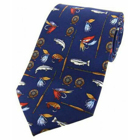 Blue Fishing Tackle Design Silk Tie