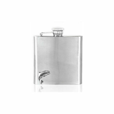 English Pewter 6oz Stainless Steel Trout Fishing Hip Flask