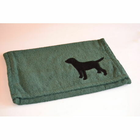 Black Labrador with Green Oven/Range Towel