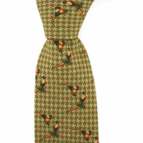 Green Silk Country Tie With Pheasant & Square Patterned Design