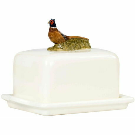 Pheasant Design Bone China Butter Dish
