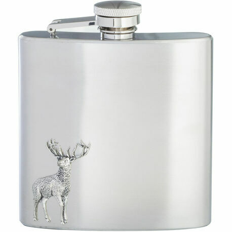 English Pewter 6oz Stainless Steel Stag Hip Flask