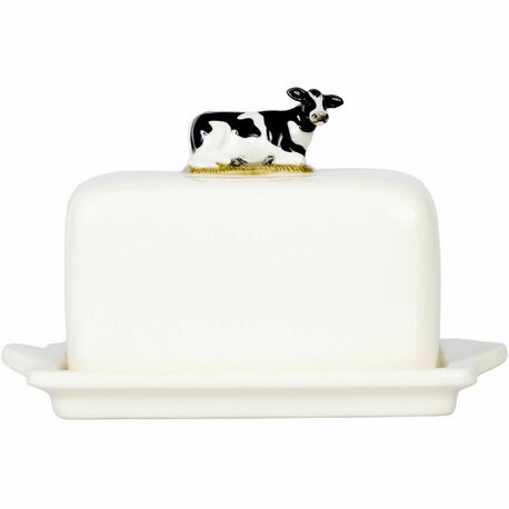Quail Ceramics Friesian Cow Butter Dish