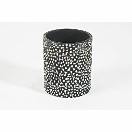 Feathers and Quills Guinea fowl feather round pen pot