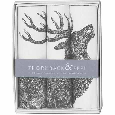 Thornback & Peel Set of 3 Grey Stag Handkerchiefs